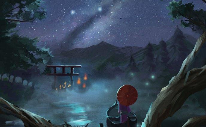 夜空に浮かぶ小舟