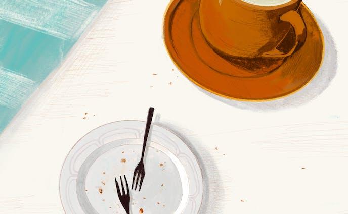 お茶の後、空のお皿。