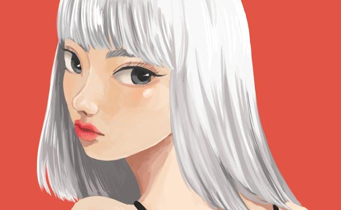white-haird girl/イラストレーション