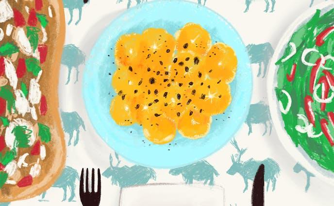16時、オレンジ、サラダ。