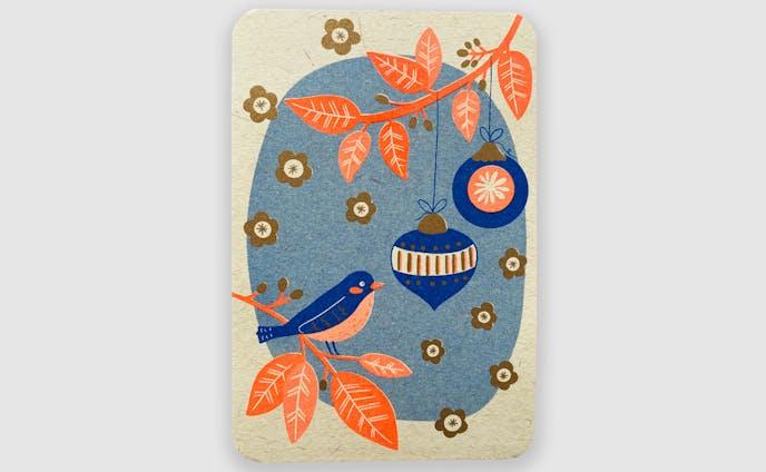冬のグリーティングカード-小鳥さん-