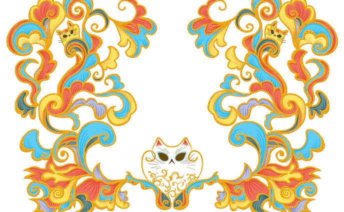 招き猫紋様