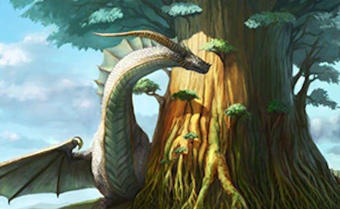 大樹を護るシルバードラゴン