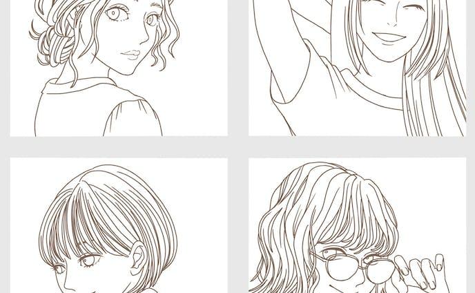 女性 - 線画