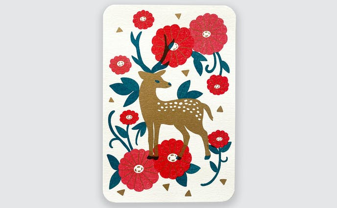 冬のグリーティングカード-鹿さん-