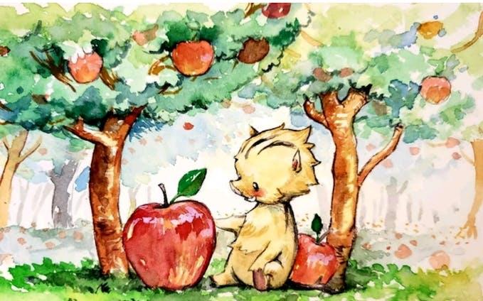 いのししとりんご
