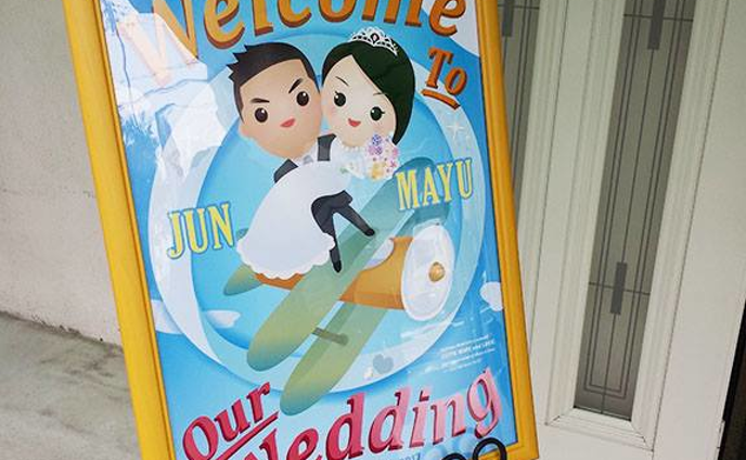 Welcome Board Illustration for Wedding