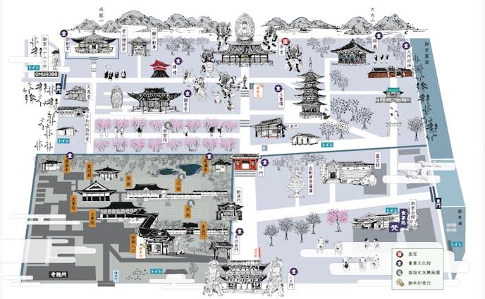 仁和寺 正面境内図