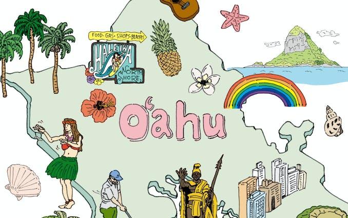 ハワイ州 観光協会パンフレット用 イラスト