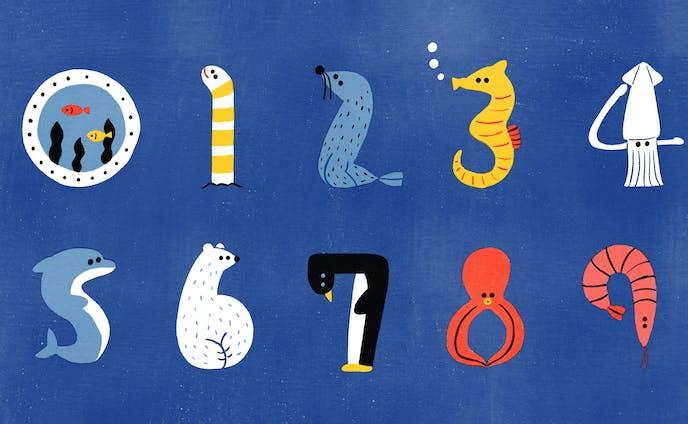 イラスト | 水族館の生き物で数字