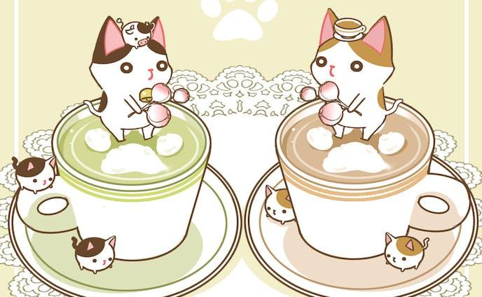 カフェラテな茶白と牛ねこ