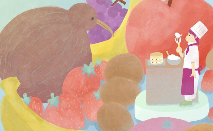 パティシエとフルーツ