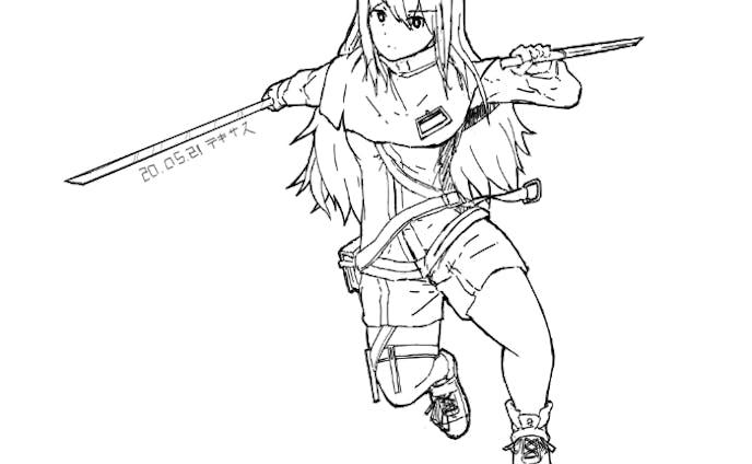 キャラクターラフ_線画