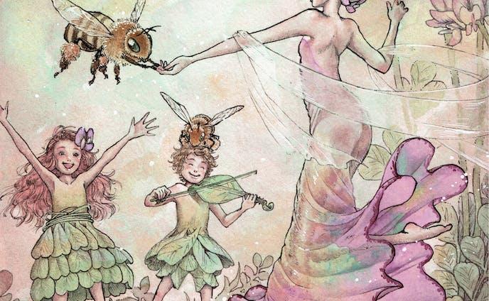 ミツバチとレンゲソウのダンス