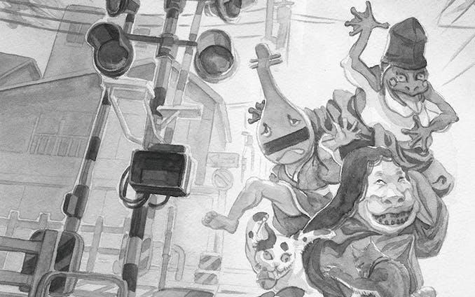 月刊『俳句四季』2018年8月号特集「俳句-異界への扉」挿絵