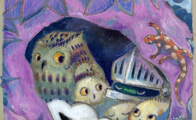 フクロウ親子と……: With a family of owls