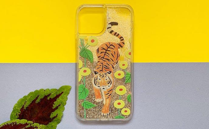 【iPhone11 Pro Max 新型対応】虎ちゃん iPhone グリッターケース