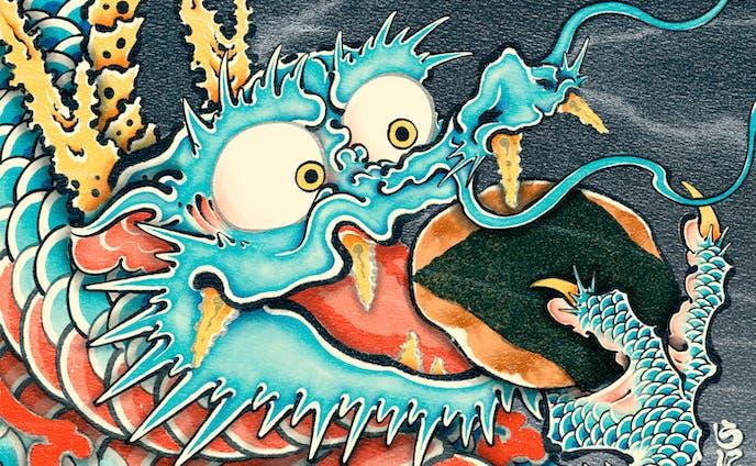 せんべいを食べる龍
