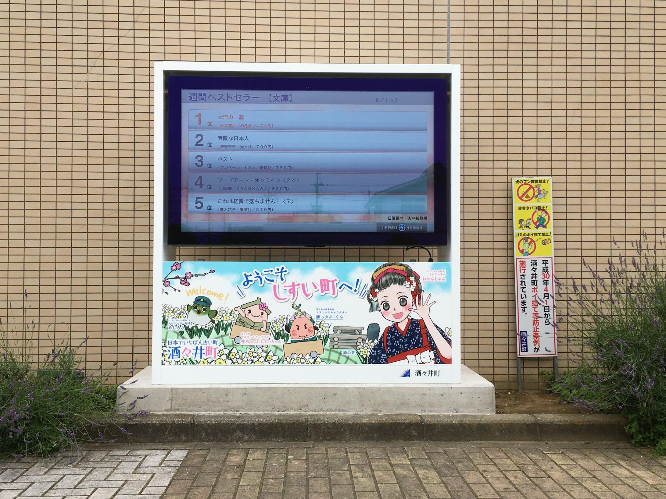JR酒々井駅西口駅前サイネージラッピングイラスト-1