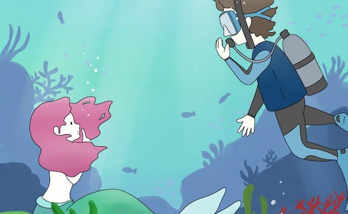 【イラスト】海の中の出会い