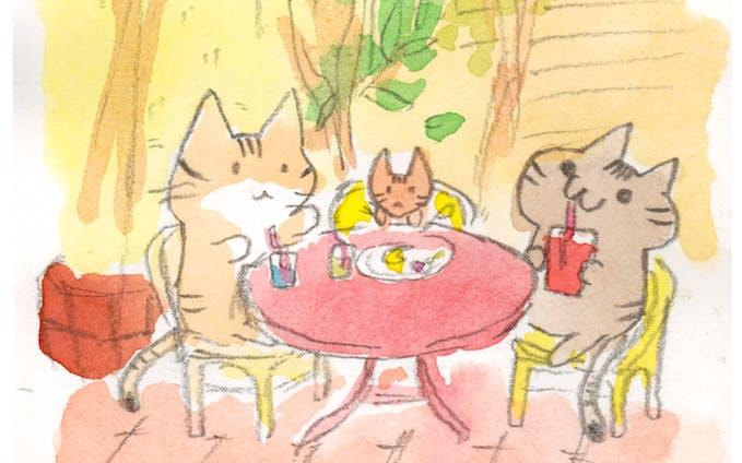 月光荘カフェにて
