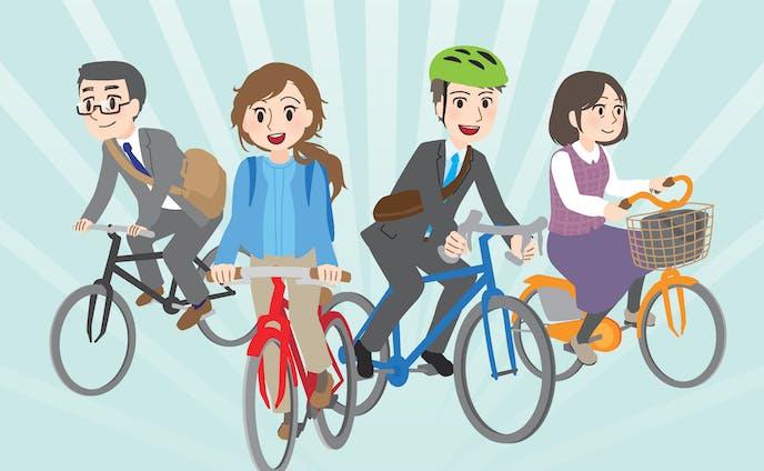 自転車通勤のイラスト