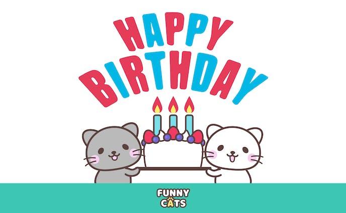 誕生日を祝ってくれる猫達