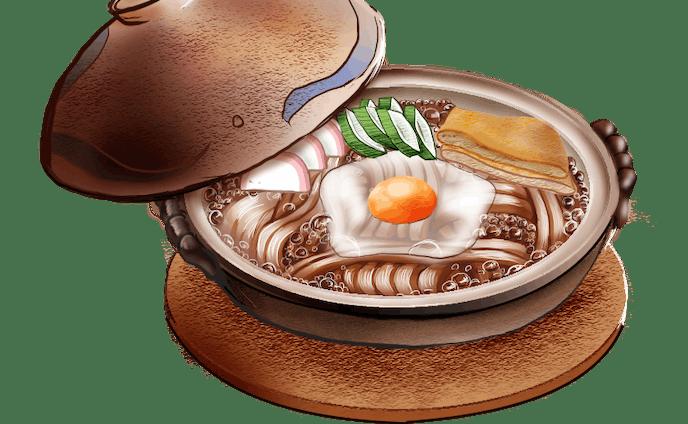 【食べ物イラスト】味噌煮込みうどん