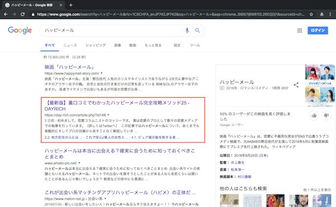 SEO『ハッピーメール』1位(検索ボリューム1,830,000)