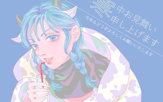 オリジナルイラスト【2021年寒中見舞い】