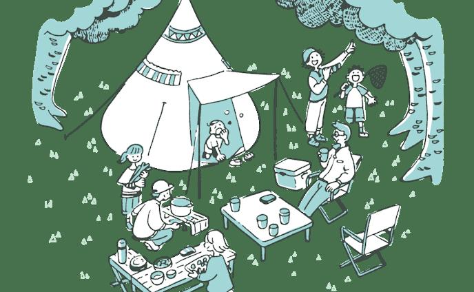 キャンプをする人々のイラスト