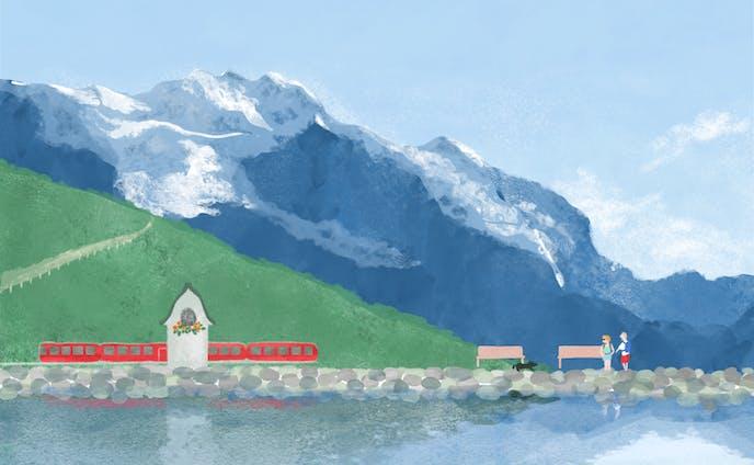 スイスの山間、泉のある場所