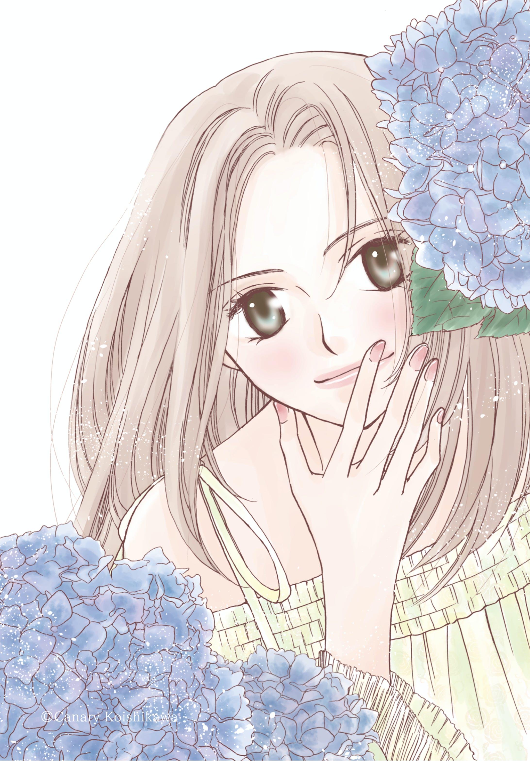 紫陽花と女の子-1