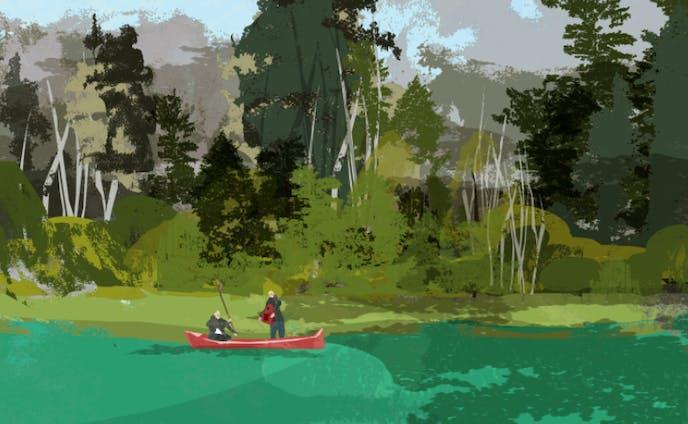 * 湖に映った空が静かに色を変えていく