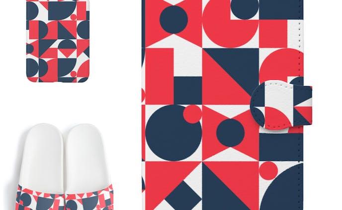 赤と青の幾何学模様