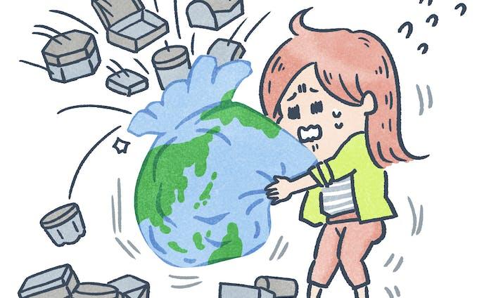 雑誌挿絵・プラスチックゴミ