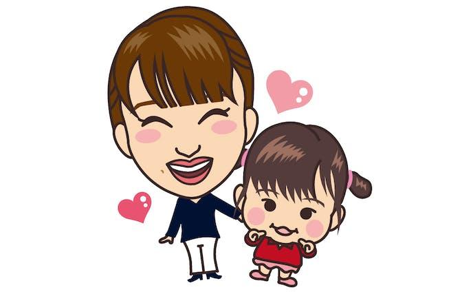 ママと娘/似顔絵イラスト
