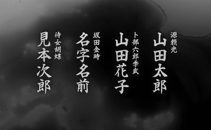出演者紹介テロップ