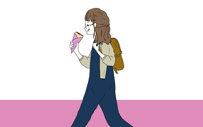 【イラスト】クレープを食べる女性