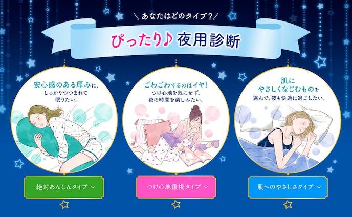 花王 夜用ロリエ診断webイラスト&パッケージ裏面イラスト(2017)
