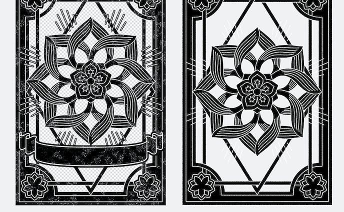 オリエンタルな古文書風飾り枠