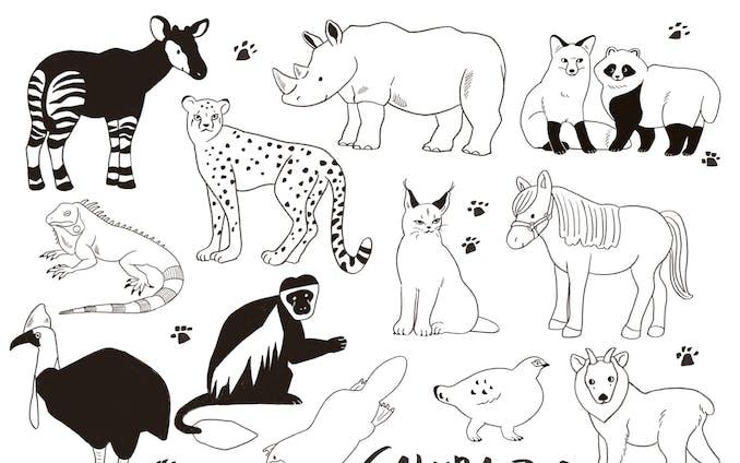動物線画イラスト