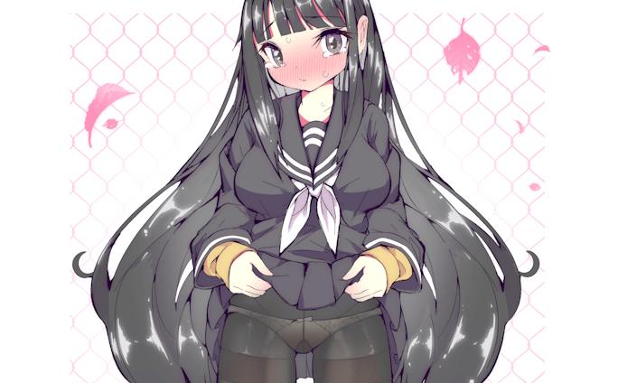 【仕事絵】スカートをめくる黒髪少女