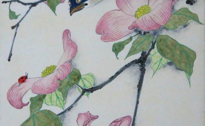 花鳥天道虫図