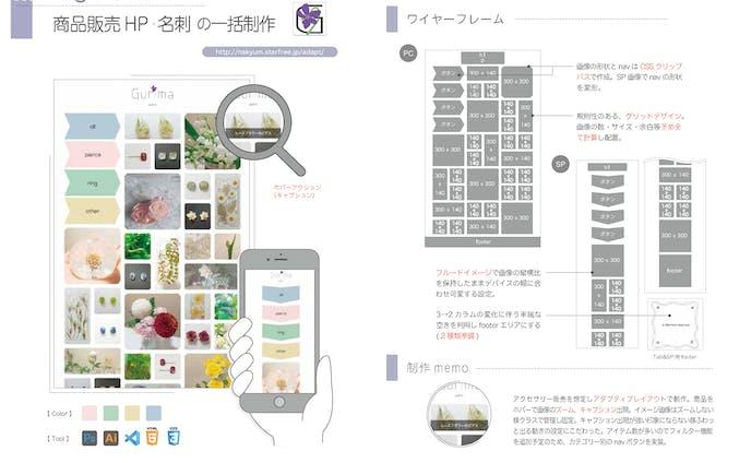 商品販売HP/名刺/ロゴのデザインと作成