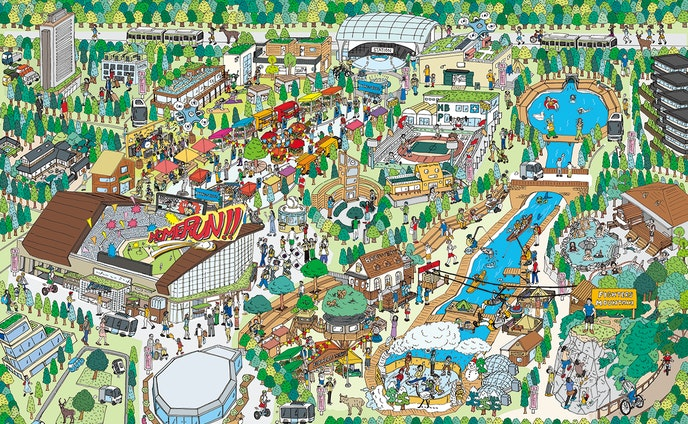 日本ハムファイターズ 北海道ボールパーク イメージマップイラスト