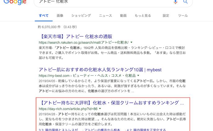 SEO『アトピー 化粧水』3位(検索ボリューム2,400)