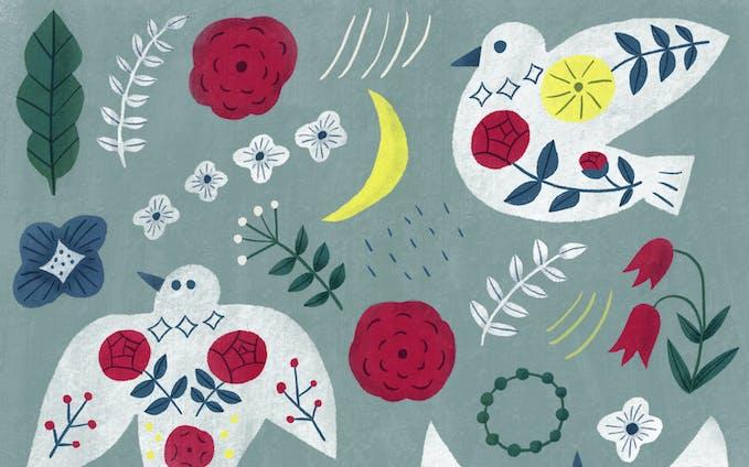 パターン | 鳥と花