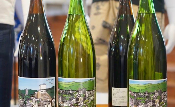 街を旅するワイン 一升瓶ワインイラスト