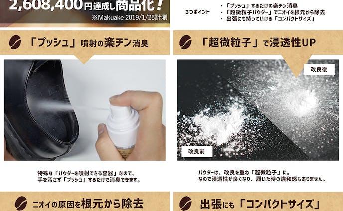 靴の消臭パウダー|Amazonの商品ページデザイン
